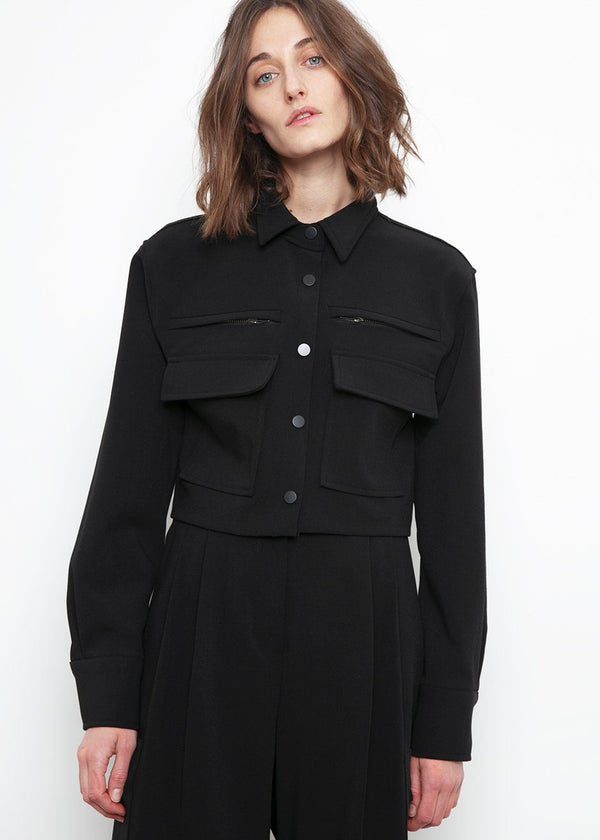 Cropped Zip Cargo Shirt- Black Shirt Ready 2 Wear