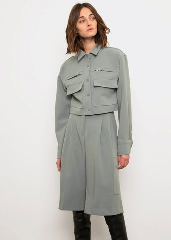 Cropped Zip Cargo Shirt- Sage Shirt Ready 2 Wear