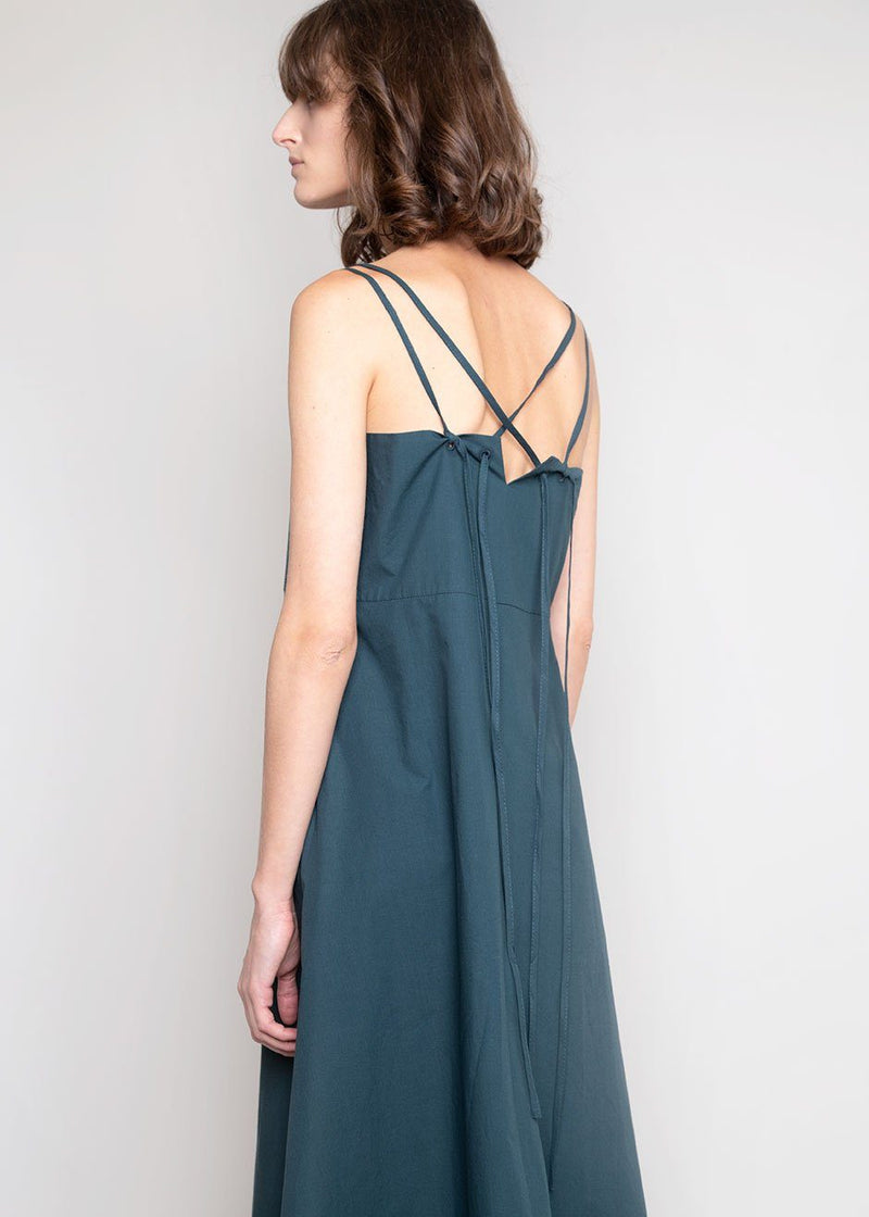 Cross Strap Apron Dress in Dark Teal Dress De Base Karé