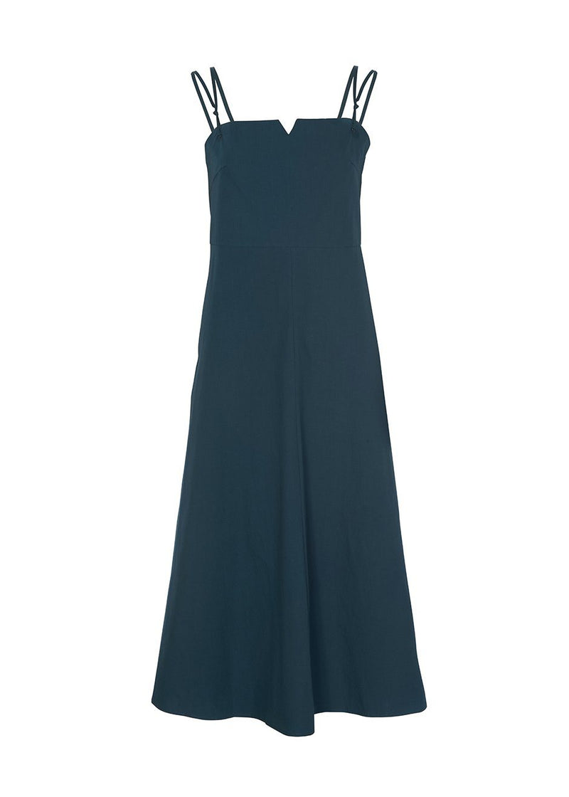 Cross Strap Apron Dress in Deep Teal Dress De Base Karé