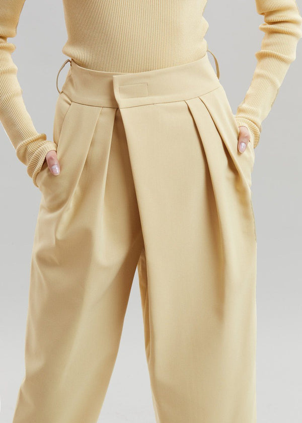 Crossover Waist Pleat Front Tapered Trousers in Marzipan Pants Another.J