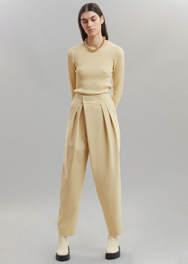 Crossover Waist Pleat Front Trousers in Marzipan Pants Another.J
