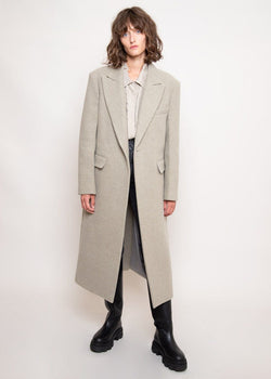 Curve Sleeve Overcoat by Low Classic in Light Khaki Coat Low Classic