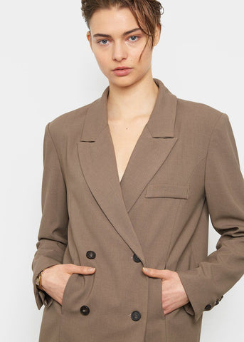Curved Seam Straight Blazer- Pebble Brown Blazer London Flat