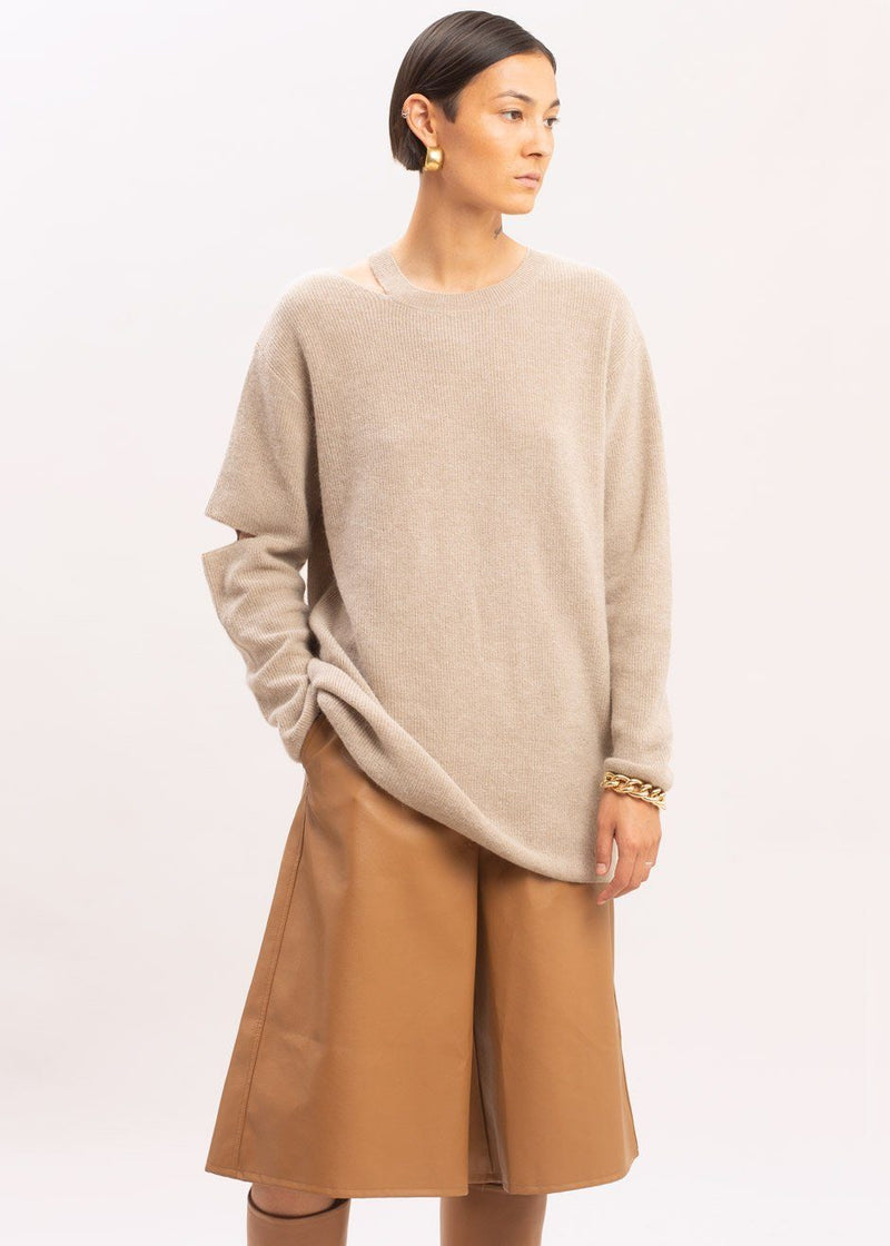 Cut-Out Ribbed Sweater in Cream Sweater La Vie