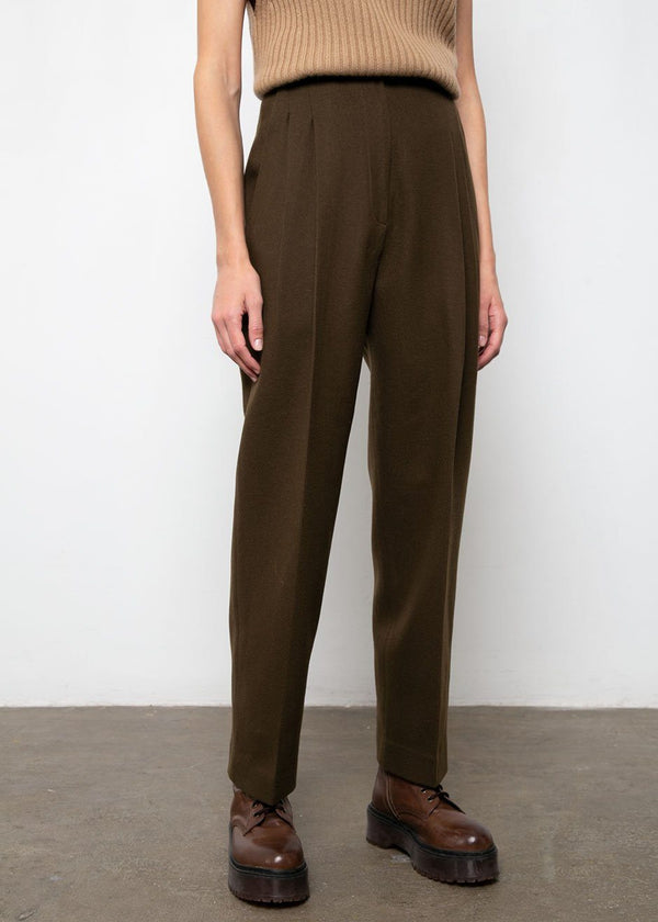 Dark Brown Pleated Woolen Suit Pants Pants Blossom