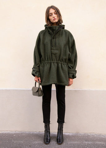 Dark Green Chevron Wool Risi Jacket by Rachel Comey Jacket Rachel Comey
