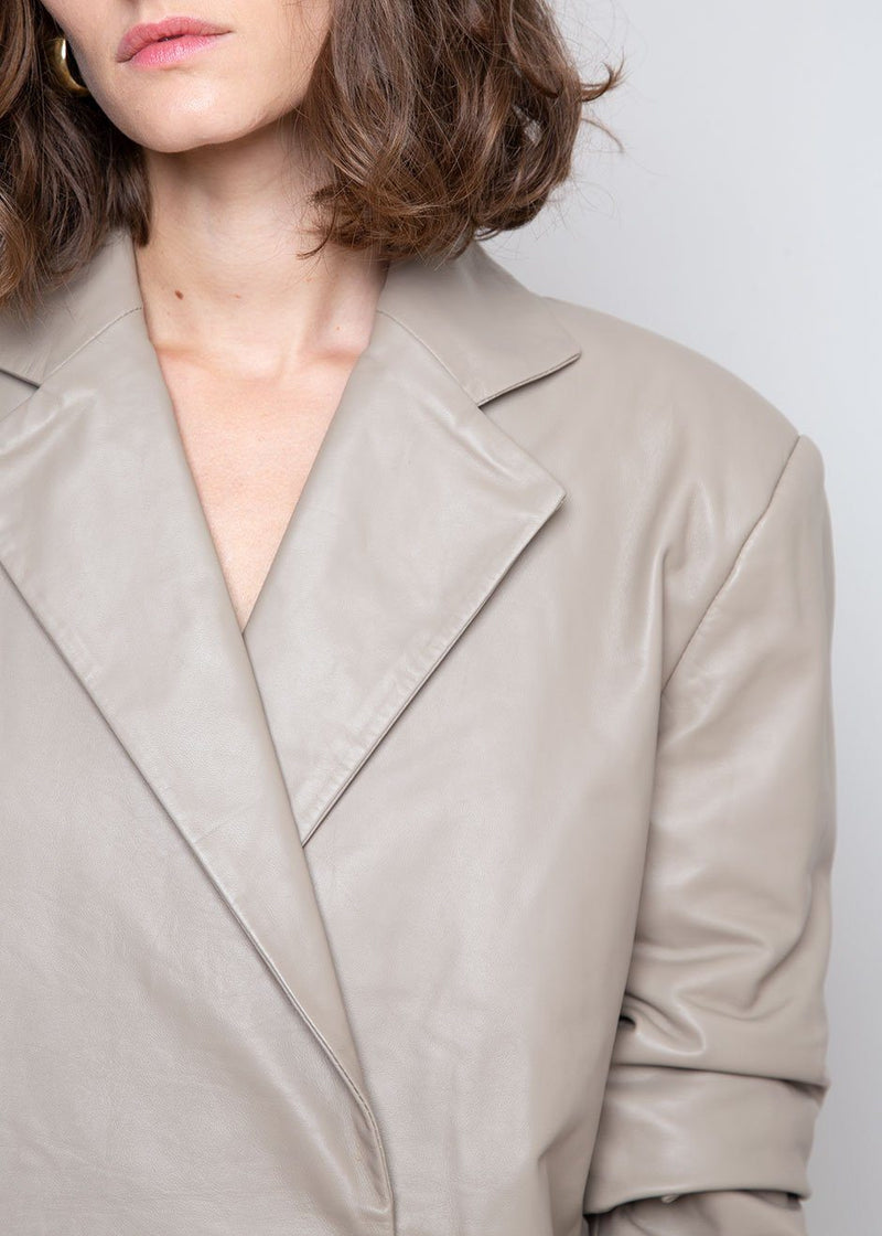 Davao Leather Blazer by Loulou Studio in Taupe Blazer Loulou Studio