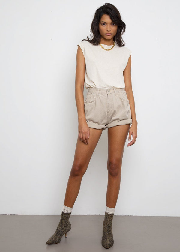 Denim Shorts in Camel Shorts London Flat