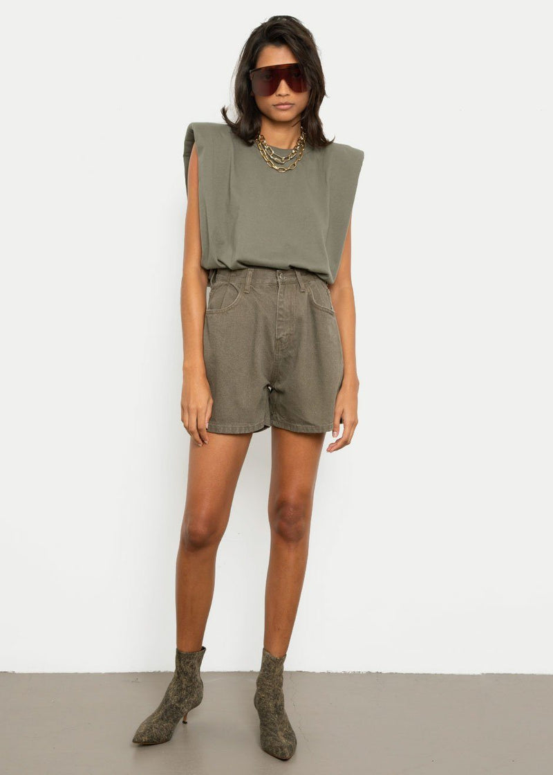 Denim Shorts in Olive Green Shorts London Flat