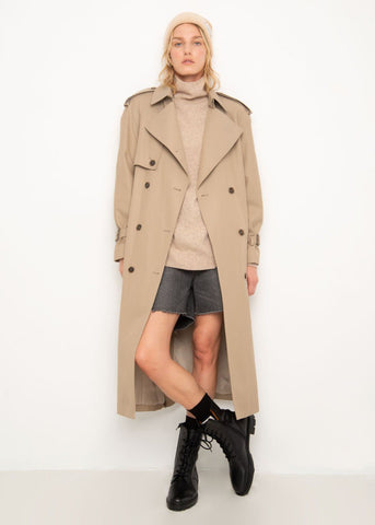 Detachable Collar Trench Coat in Classic Khaki Jacket Blossom