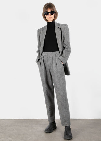 Diagonal Woolen Trousers in Black & White Pants Blossom