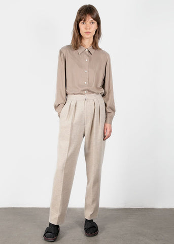 Diagonal Woolen Trousers in Oat Beige Pants Blossom