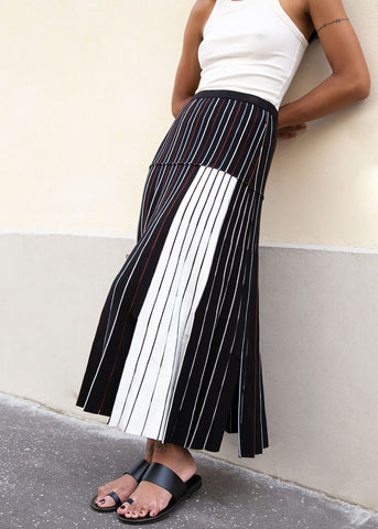 Divvy Knit Skirt in Black Sunburst Pleat by Rachel Comey Skirt Rachel Comey