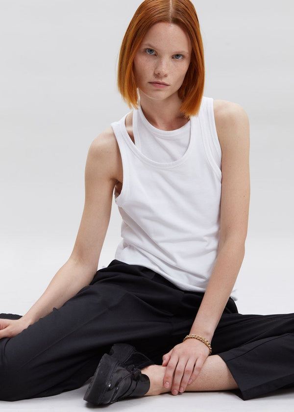 Double Asymmetric Layer Tank in White Top Stain Less