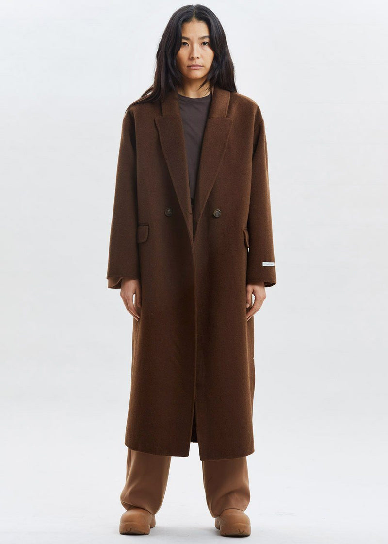 Double Breasted Belted Wool Overcoat in Chocolate Coat The Frankie Shop