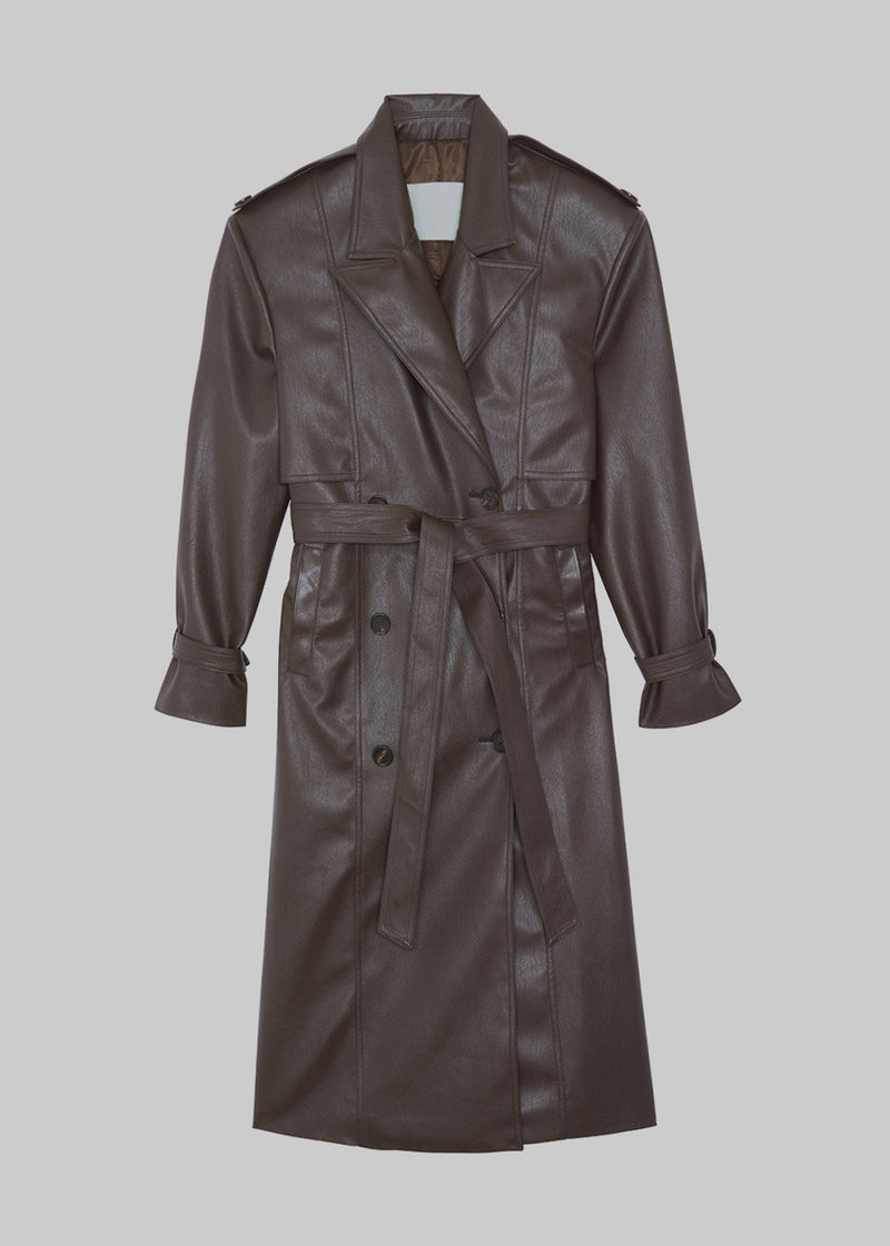 Double Breasted Faux Leather Trench Coat in Java Coat Paper Moon
