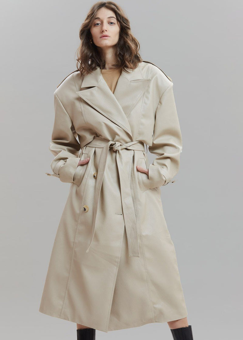 Double Breasted Faux Leather Trench Coat in Sand Coat Paper Moon