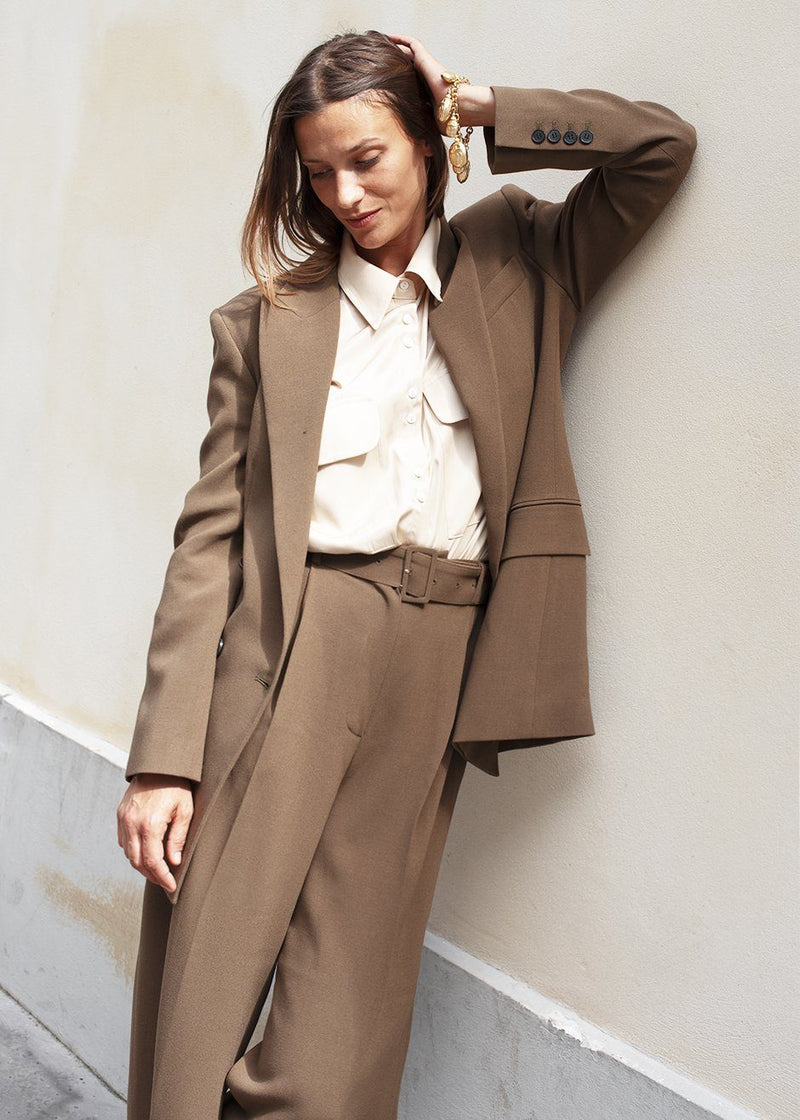 Double Breasted Suit Blazer in Cedar Brown Blazer Blossom