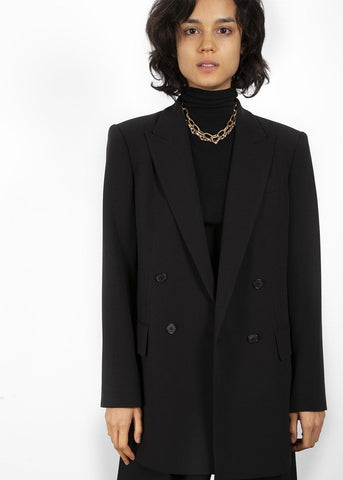 Double Breasted Suit Blazer in True Black Blazer Blossom