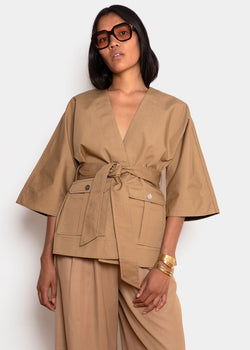 Double Cotton Belted Wrap Shirt by Ganni- Tannin Shirt Ganni