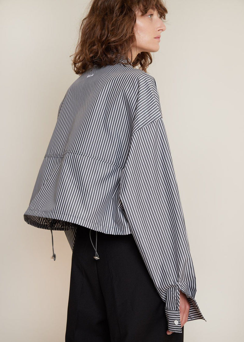 Double Hem Cropped Shirt in Slate Stripe Top L'Appartement