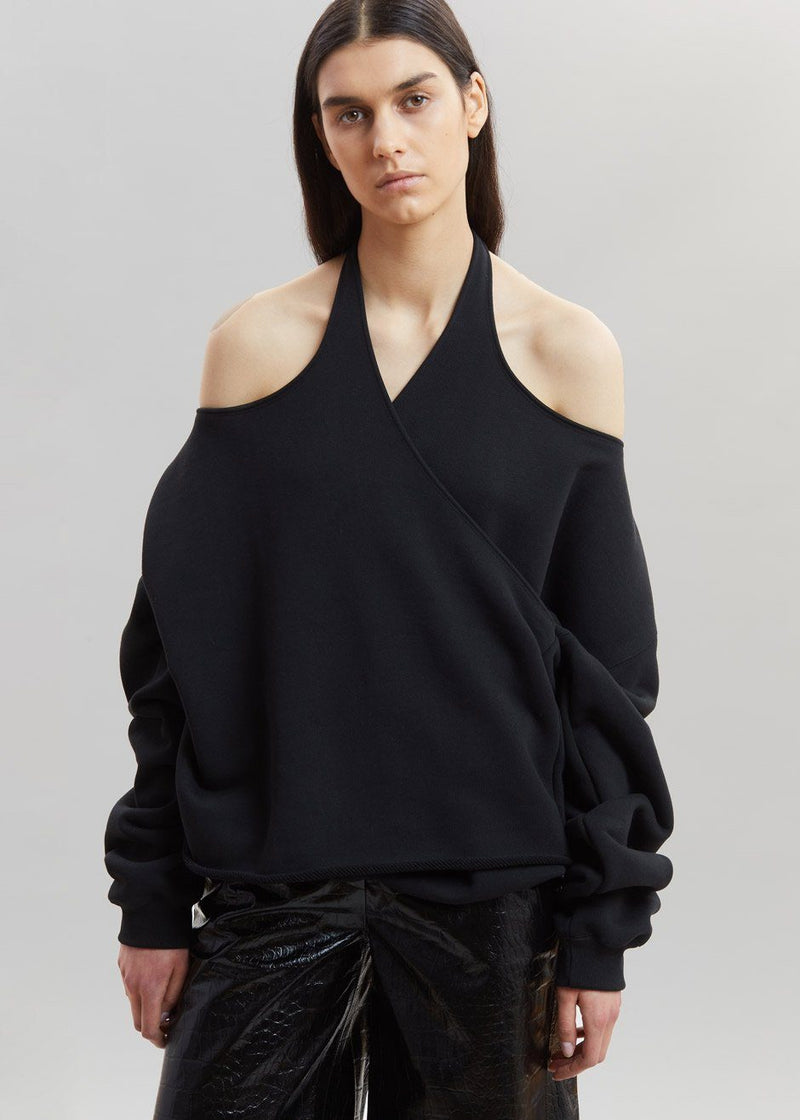 Double Layer Criss-Cross Pullover in Black Sweatshirt Stain Less