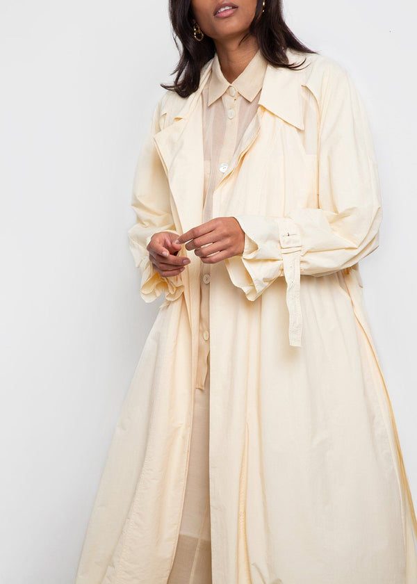 Double Trench Coat by Low Classic- Cream Yellow trench Low Classic