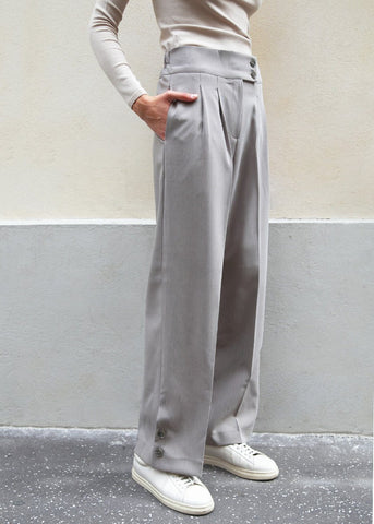 Dove Grey High Rise Suit Trousers pants Kiki Love