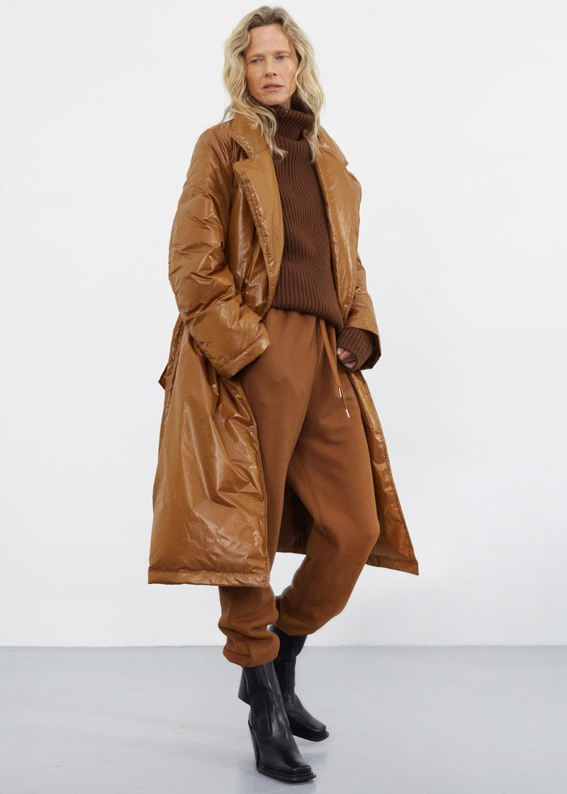 Down Belted Overcoat in Bronze Coat Cafe Noir
