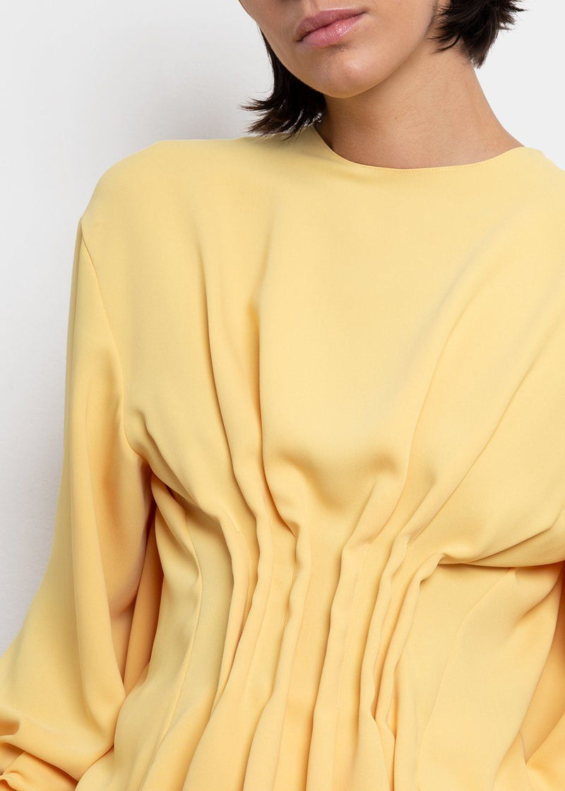 Draped Back Top by A.W.A.K.E. MODE in Yellow Top Awake Mode