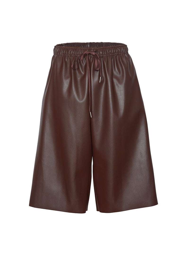 Drawstring Leather Shorts in Chicory Brown Shorts Agit