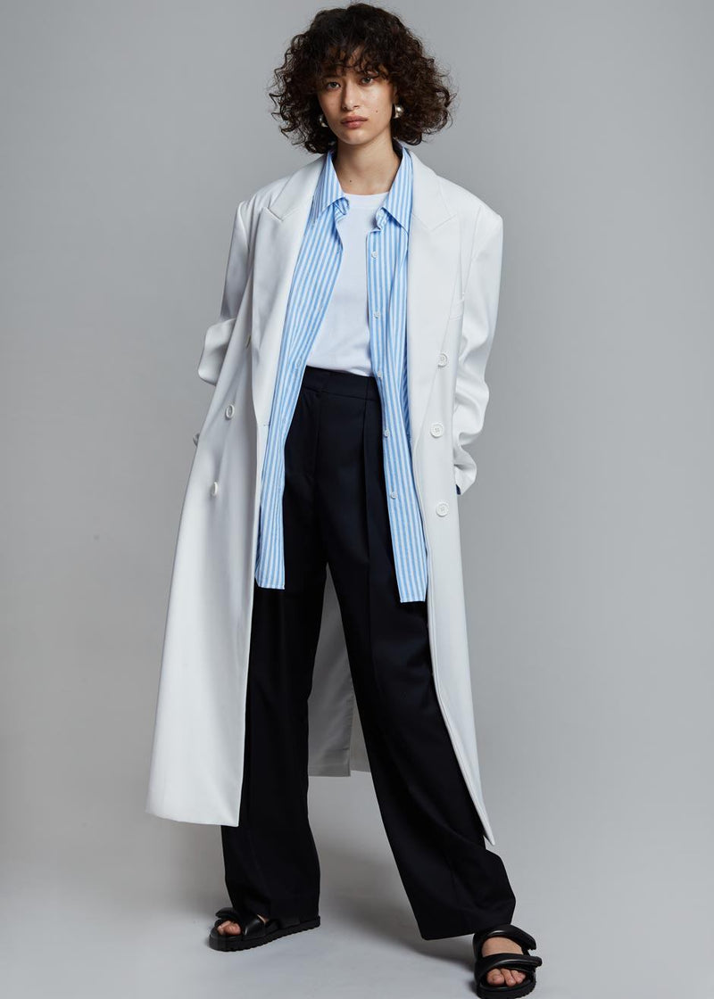 Dree Double Breasted Overcoat - Optic White Coat The Frankie Shop