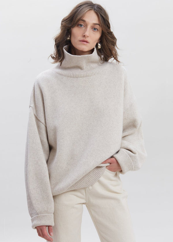 Drop Shoulder Roll Neck Sweater in Birch Sweater Another.J