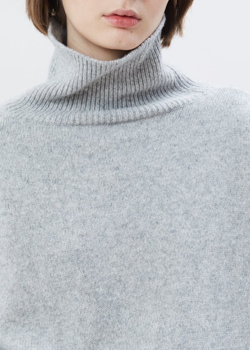 Drop Shoulder Roll Neck Sweater in Heather Grey Sweater Another.J