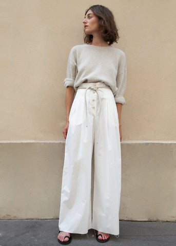 Dunn Palazzo Pants in White Creme by Nanushka Pants Nanushka