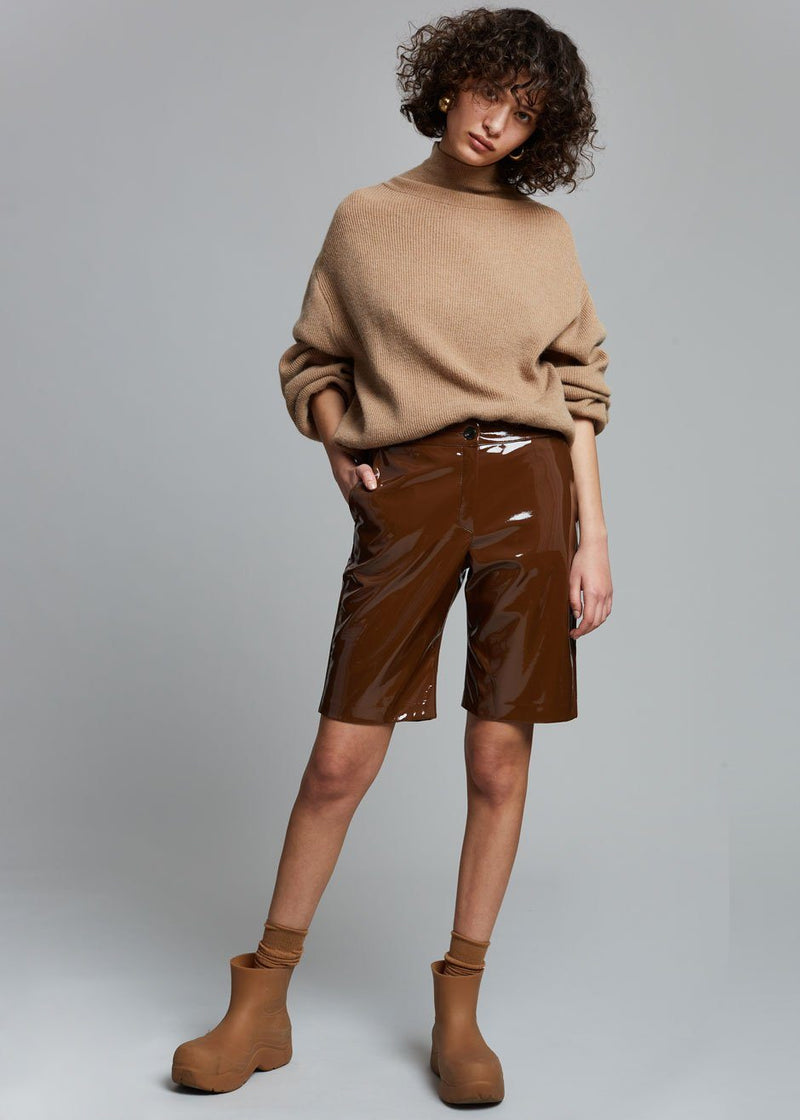 Eden Sleek Patent Shorts in Toffee Shorts The Frankie Shop