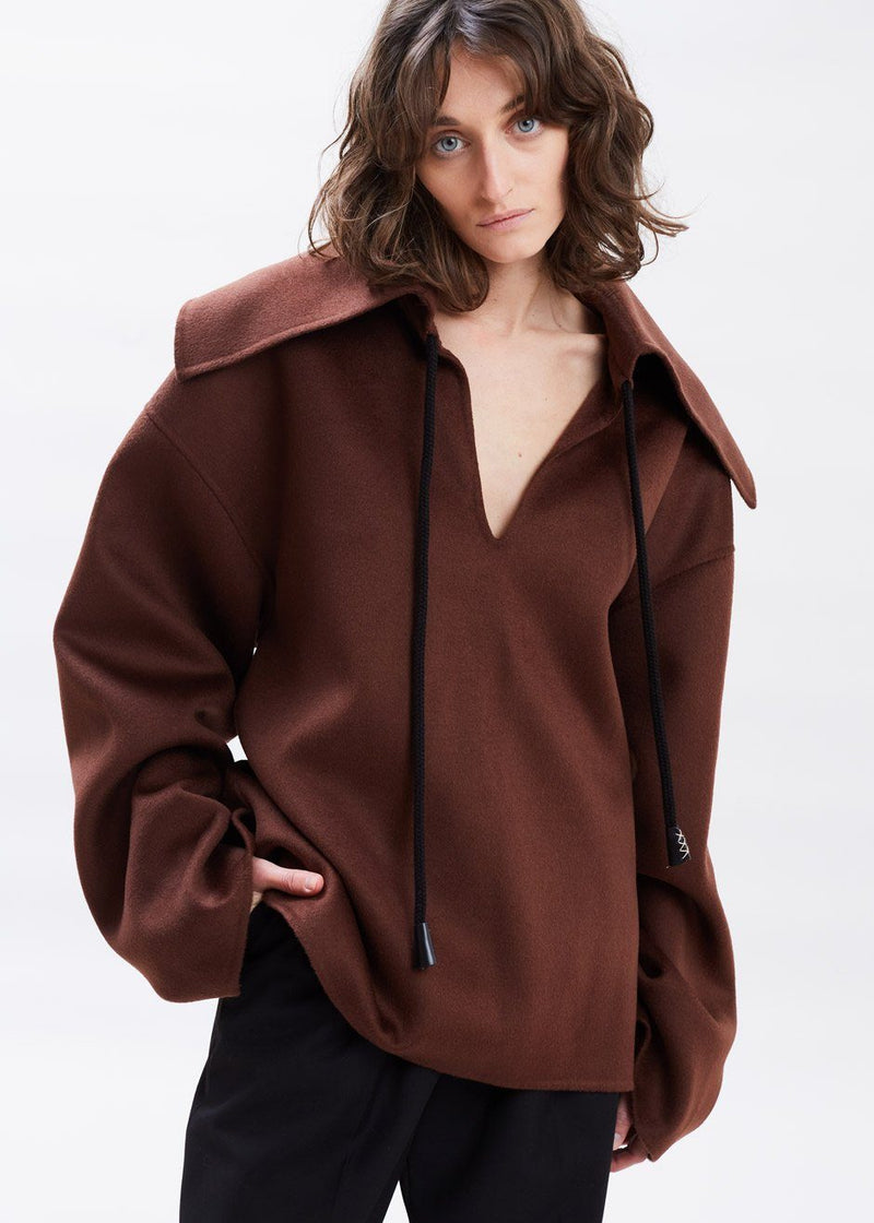 Eli Wool and Silk Blend Jacket by Nanushka in Cinnamon Jacket Nanushka