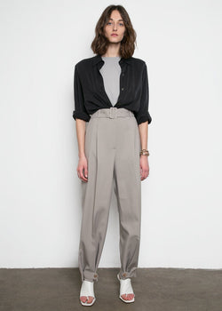 Elvira Belted Suit Pants with Button Tab Cuff in Grey Pants Blossom