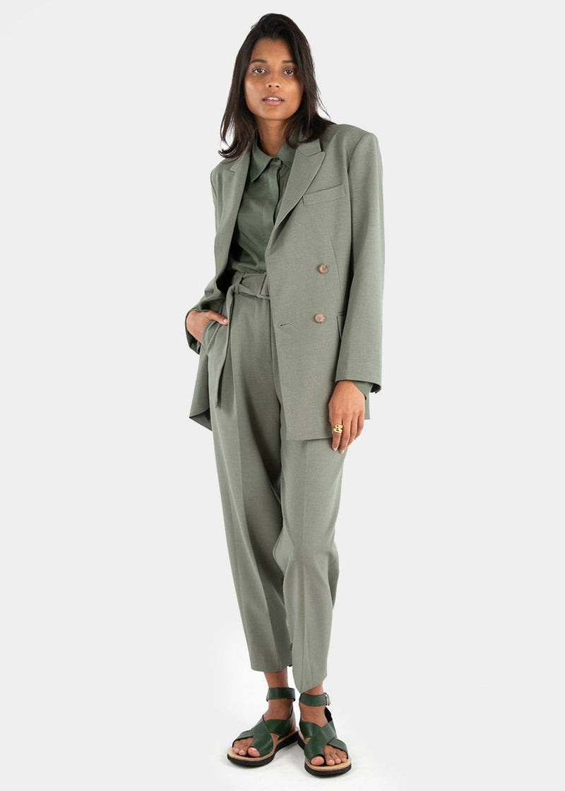 Elvira Belted Suit Pants with Button Tab Cuff in Khaki Green Pants Blossom