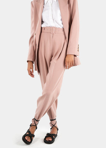Elvira Belted Suit Pants with Button Tab Cuff in Pink Pants Blossom