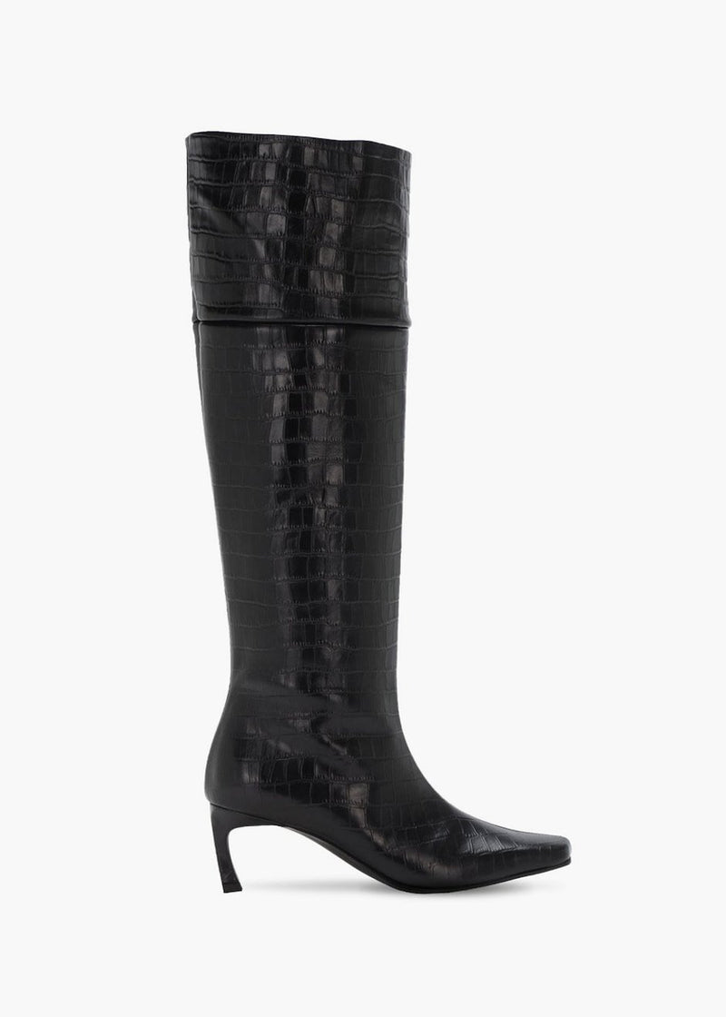 Embossed Leather Tall Boots by Reike Nen in Black Shoes Reike Nen