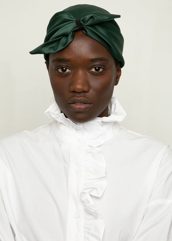 Emerald Satin Head Turban Hat VanNzilL