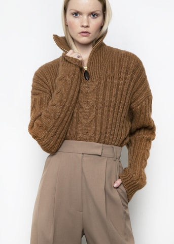 Eria Cable Knit Sweater by Nanushka- Brown sweater nanushka
