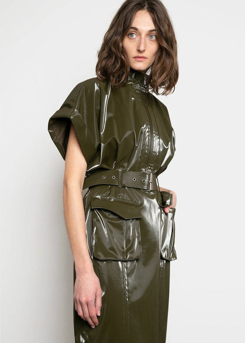 Erin Patent Dress in Olive Dress The Frankie Shop