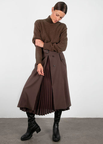 Espresso Panel Pleated Skirt Skirt Beside You