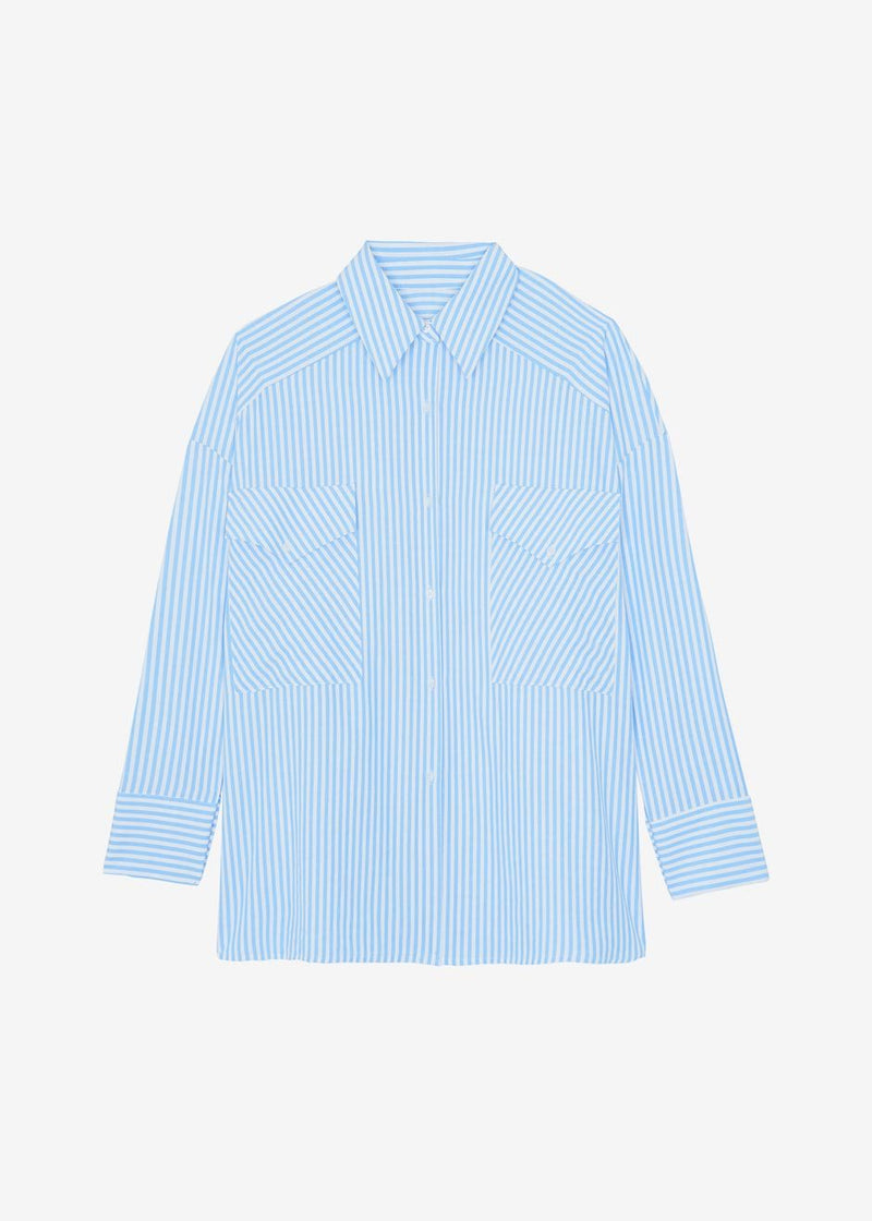 Esther Western Pocket Shirt - Azure Stripe Shirt The Frankie Shop