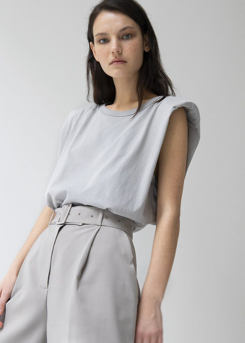 Eva Padded Shoulder Muscle T-Shirt in Grey Top The Frankie Shop