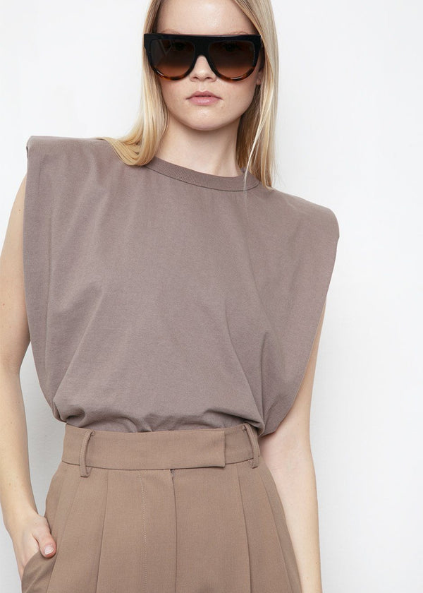 Eva Padded Shoulder Muscle T-Shirt in Mocha Top The Frankie Shop