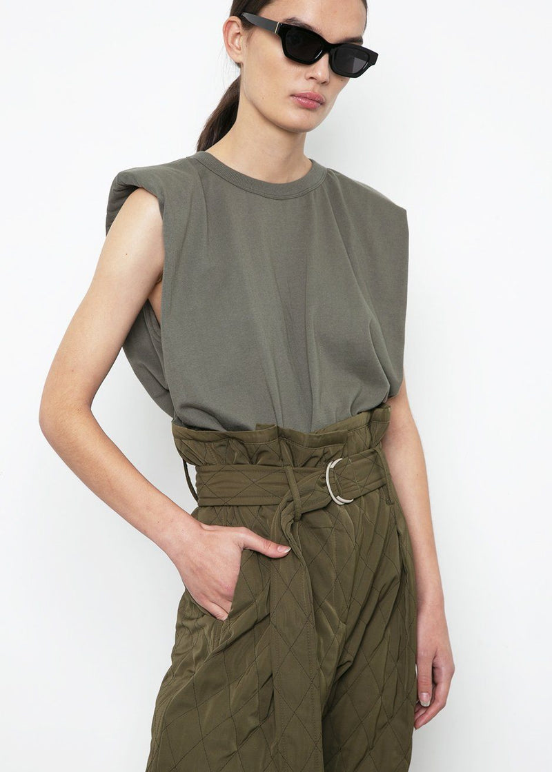 Eva Padded Shoulder Muscle T-Shirt in Olive Khaki Top The Frankie Shop